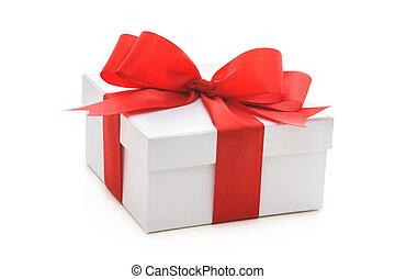 doosje, lint, rood, geschenk buiging