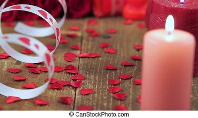 doosje, rozen, hout, rood, cadeau