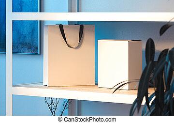 doosje, shoppen , houten, rendering., shelf., zak, handvatten, black , witte , 3d