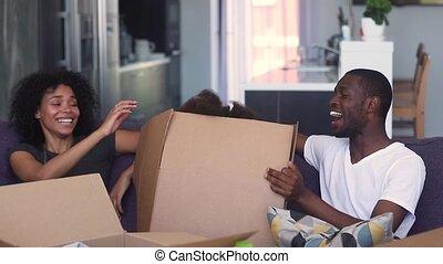 doosje, toneelstuk, dochter, sprong, ouders, afrikaan, uit, geitje