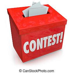 doosje, verloting, prijs, vorm, wedstrijd, winnen, binnengaan, ingang, tekening