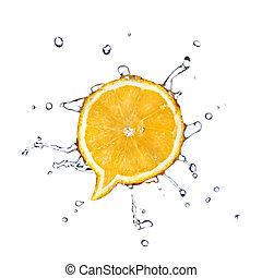 doosje, vrijstaand, water, vorm, dialoog, sinaasappel, witte , druppels
