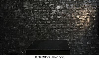 doosje, vrouw, achter, black , blik, uit