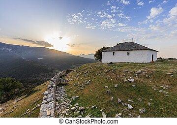 dorp, zonopkomst, kastro, griekenland