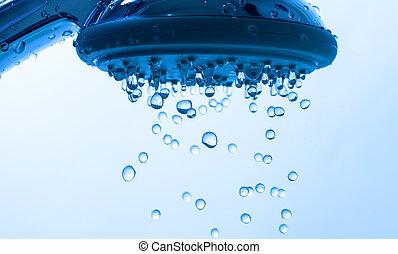 douche, druppel, hoofd, water
