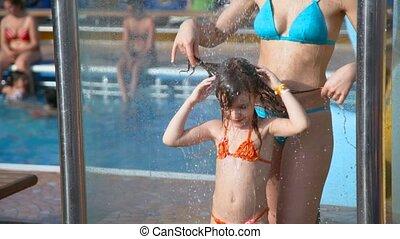 douche, vrouw, boeiend, water, meisje, pool