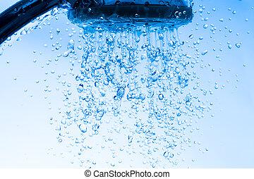 douche, water, hoofd, rennende