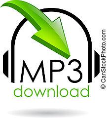 downloaden, symbool, vector, mp3
