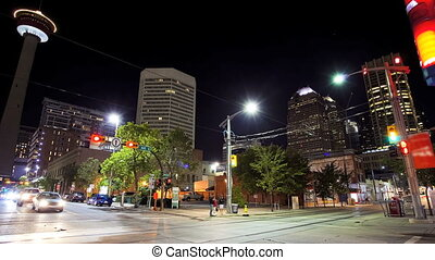 downtown, calgary, wrakkigheid, tijd