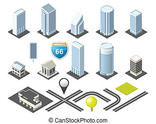 downtown, kaart, isometric, toolkit