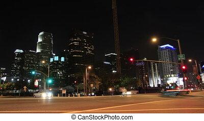 downtown, kruising, nacht