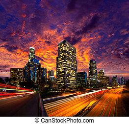 downtown, la, engelen, los, skyline, ondergaande zon , nacht, californië