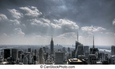 downtown, nyc, wolken, sunrays