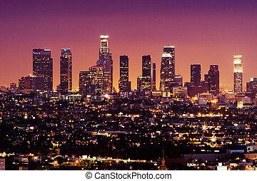 downtown, usa, engelen, los, skyline, nacht, californië