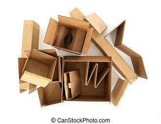 dozen, bovenzijde, karton, aanzicht