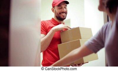 dozen, gelukkig huis, bezorgen, pakket, man, klant