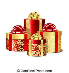 dozen, goud, rood, cadeau