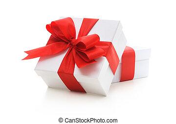 dozen, lint, rood, geschenk buiging