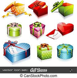 dozen, vector, set:, cadeau