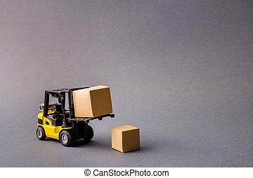 dozen, vrijstaand, bezorgen, plan, start, vrachtwagen, farceren, het brengen, handel, vervoer, elektrisch, grijze , kleuren achtergrond, foto, donker, professioneel, op, pastel, kleine