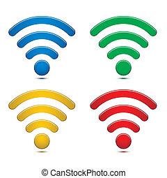 draadloos, symbolen, set, netwerk