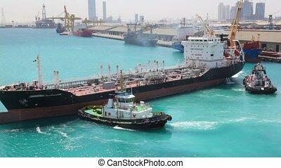 draaien, twee, slepen, zee, bootjes, tanker, porto