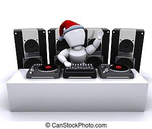 draaitafels, verslag, dj, kerstmis, vermenging