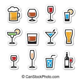 drank, set, alcohol, drank, iconen