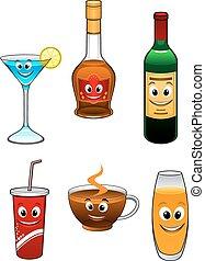 dranken, drank, spotprent, karakters
