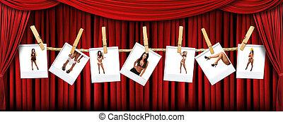 draperen, polaroids, theater, abstract, achtergrond, warme, vrouwlijk, sexy, rood, toneel