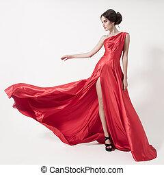 dress., beauty, jonge, achtergrond., vrouw, witte , het wapperen, rood
