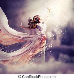 dress., meisje, vervelend, chiffon, fantasie, scène, lang, mooi