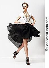 dress., oscillatie, motion., luxueus, supermodel, mode, vitality., het wapperen
