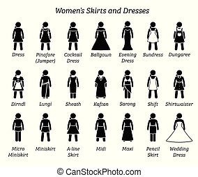dresses., rokjes, vrouwen
