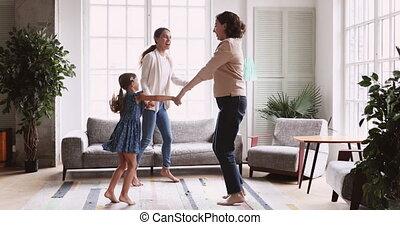 drie, 3, kamer, gezin, dancing, vrouwen, generaties, levend, leeftijd