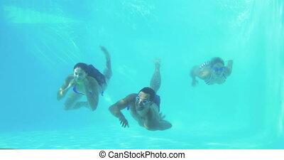 drie, zwemmen, duiken, vrienden