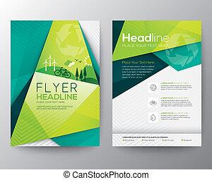 driehoek, abstract, flyer, ontwerp, mal