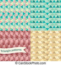 driehoek, set., seamless, retro, achtergrond, geometrisch