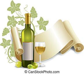 drinkbeker, fles, wijntje