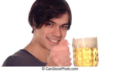 drinkt, man, bier, jonge