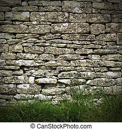 droog, muur, steen