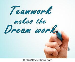droom, werken, hand, pen, team, schrijvende , maakt