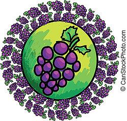 druif, beeld, vector, groene, viooltje, bladeren