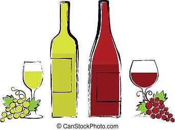 druif, bril, flessen, wijntje