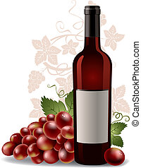 druif, fles, wijntje