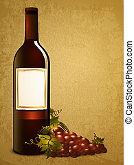 druif, rode fles, wijntje