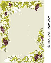 druiven, menu, kaart, leaves., wijngaarden