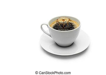 druppel, koffie, gespetter, kop
