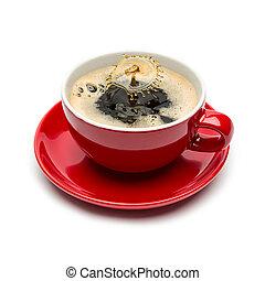 druppel, koffie, gespetter, witte