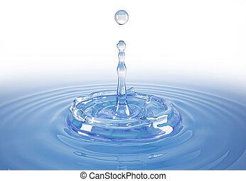 druppel, water, enkel, gespetter, ripples., pool